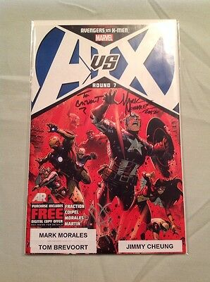 Marvel Comic A vs X #7 Triple Auto by Tom Brevoort, Mark Morales,Jimmy Cheung