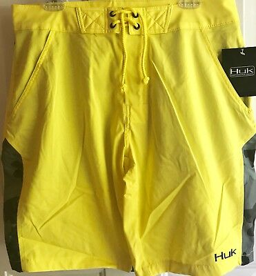 e467cee147b4 HUK FISHING BOARD Shorts - Yellow Black Camo Size 32...Brand NEW ...