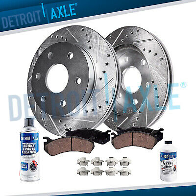 Gold Hart *DRILLED /& SLOTTED* Disc Brake Rotors FRONT KIT Ceramic Pads F2443