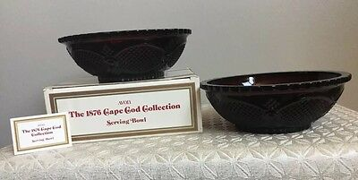 AVON Cape Cod Collection Serving Bowls With Box Glass Set 2 Ruby Red T8
