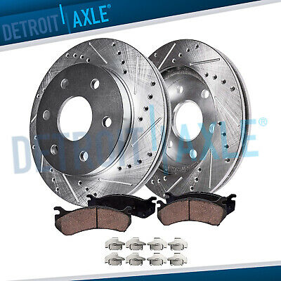 Front Drilled Slotted Disc Brake Rotor & Ceramic Pad 2008-2015 Yukon Suburban