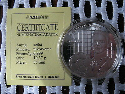 Ferenc Puskas, Puskás Ferenc soccer idol UNC PP 999 silver coin/medal, Hungary