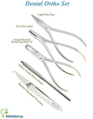Set of 5 Ortodonzia Bracket Tweezers Hollow Mirror Handle light Wire De la Rosa
