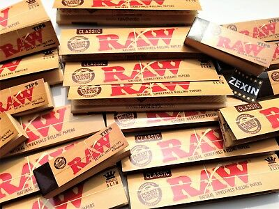 Genuine RAW Classic King Size Slim Natural Rolling Papers + Free RAW Roach Tips!