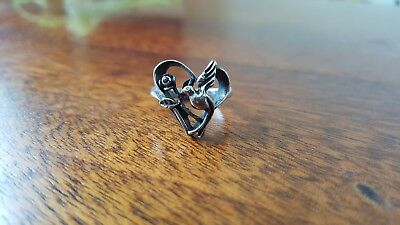Sterling Silver Heart, Peace, Dove, Ruby Antique Ring