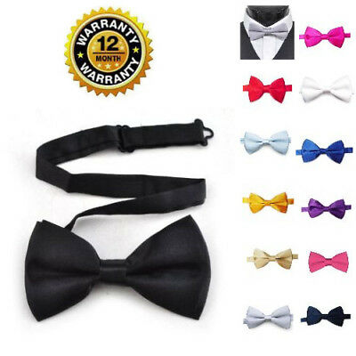 Bow Tie Set Solid Black Satin Hot Formal Banded Wedding Party Pre-tied For Mens