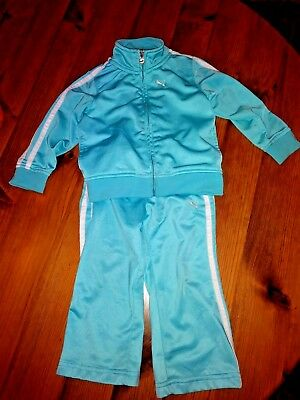 PUMA Blue and White Girl Boy Set Outfit Sports Athletic 24 Months Jacket Pants