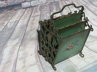 Antique Cast Iron Victorian Rose Floral Toleware Ornate Scroll Magazine Rack Old