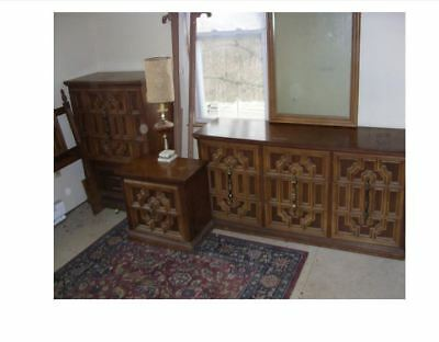 4PC Bedroom Set Large Dresser with Mirror, Chest, Night Stand, Headboard & Rails