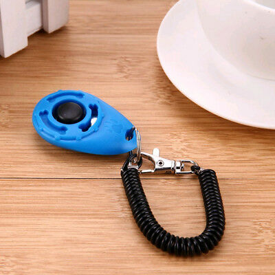 Pet Dog Cat Training Button Click Clicker Aid Wrist Strap Trainer Obedience