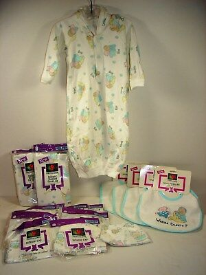 Lot of Fruit of The Loom Infant Hooded Gowns,Feeding Bibs & Infant Caps ~ New