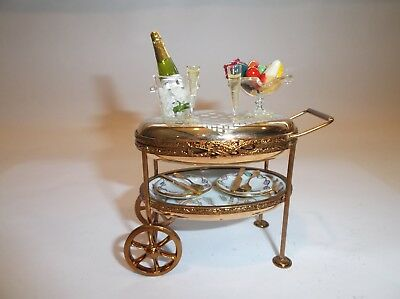 Peint Main Limoges Trinket-Champagne Dessert Cart With Rolling Wheels