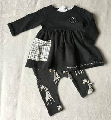 ***BNWT Next baby girl Giraffe Charcoal dress and leggings set 3-6 months***