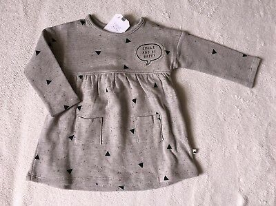 ***BNWT Next baby girl Grey Slogan sweatshirt dress 12-18 months***