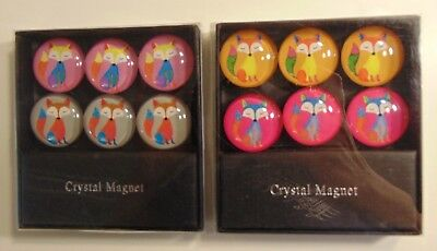 12 Fox Round Crystal Magnets -- 2 Boxes of 6 Each -- Office Desk Accessory NIB