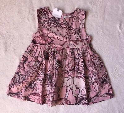 ***BNWT Next baby girl Pink Animals cotton dress 9-12 months***