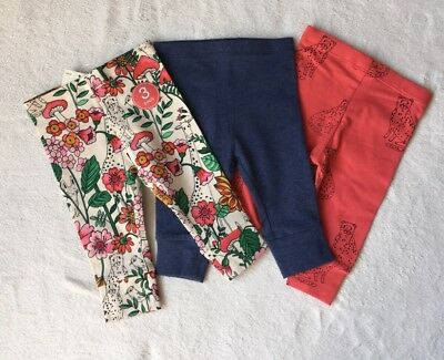 ***BNWT Next baby girl Bright Floral/Cat leggings 3 pack set 6-9 months***