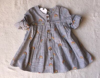 ***BNWT Next baby girl Rainbow Embroidered striped shirt dress 3-6 months***