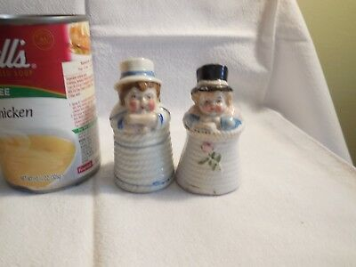 Adorable Pair Conte Boehme Salt & Pepper Shakers Kids in Rope Coils    Germany