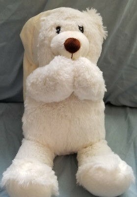 "Avon White/Cream Praying Light Up Teddy Bear ""Now I Lay Me"" plush - 11"""