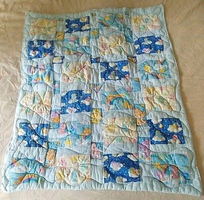 """Vintage Handmade Baby Patchwork Quilt Care Bears 38"""" L by 31"""" W Unisex Blue"""