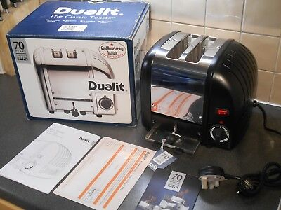 Brand New Bnib Dualit 2 Slice Two Black Polished Toaster 20237 D2Bmha Extra Wide