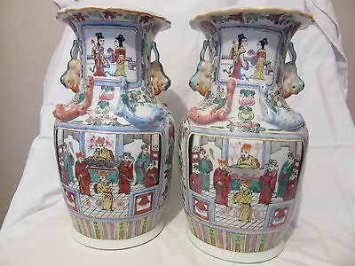 Pair Of Antique Chinese Porcelain Famille  Rose Vases Marked Qing Tongzhi