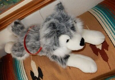 "SIBERIAN HUSKY PUPPY DOG / COLLAR & LEASH    24"" LONG  plush stuffed dog PERFECT"