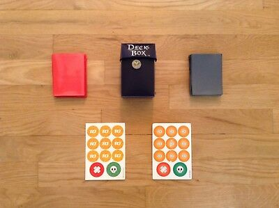 One Deck Box,Two Card Sleeves, And Two Pokemon Trading Card Game Damage Counters