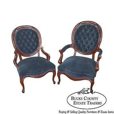 Victorian Style His & Hers Pair of Solid Mahogany Frame Arm Chairs