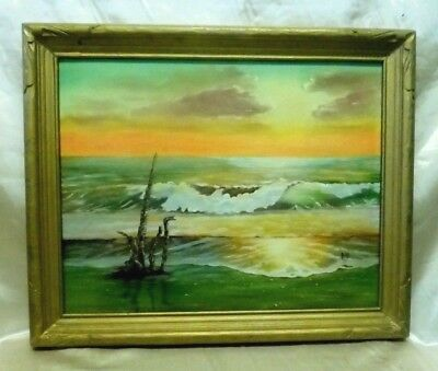 Beautiful Signed Vintage Sunset Beach Scene Oil Painting in Gold Antique Wood FR