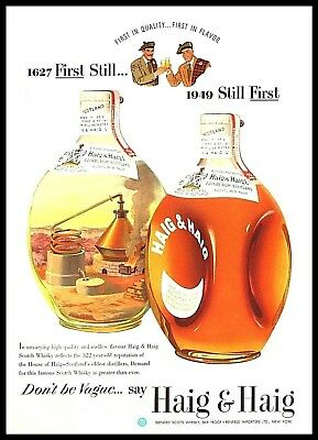 "1949 Haig & Haig Scotch Whisky 1627 Still Distillery whiskey Print Ad 10""x13"""
