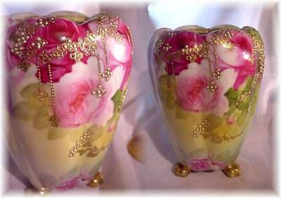 Antique Hand Painted Jeweled Nippon Footed Vase Pink Roses And Jewels Gold