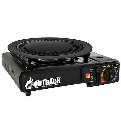 Portable Gas Stove with BBQ Grill Plate Outdoor Barbecue Cooking Burner Kit