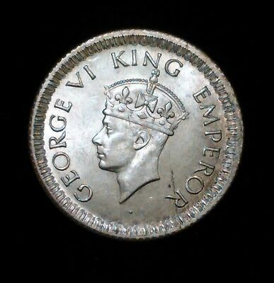 1942 India ¼ Rupee Silver Coin Uncirculated.