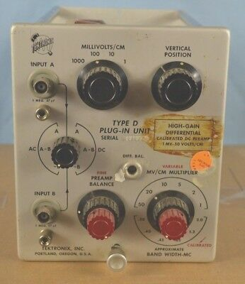 Tektronix Type D Plug-In Unit (500 5xx series Boat Anchor Analog Oscilloscopes)