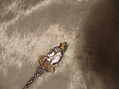 Sterling Silver Souvenir Spoon Jasper Native Profile Enamel Finial See Pictures
