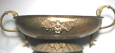 Vintage Solid Brass Oval Footed Decorative Bowl w/ Fish Handles  hammered india