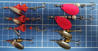 Spinners, with Mustad Hooks, Various Types & Colors,