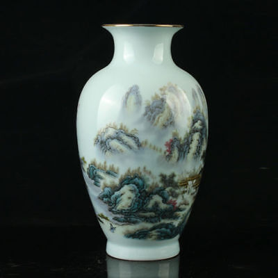 Chinese Porcelain Hand-Painted Landscap Vase Mark As The Qianlong Period R1041