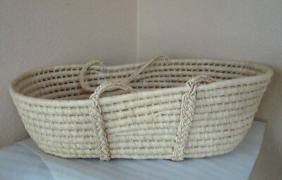 Large Moses Basket Bassinet Baby Doll Carrier Woven w/ Handles