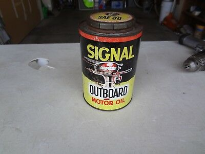 vintage Signal Outboard Boat Motor oil Can National can co