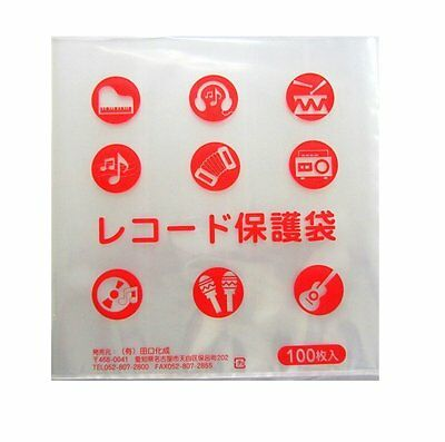 "100pcs Stat Disc File Plastic Inner Sleeves 12"" Record LP TAGUCHI JAPAN 0.06mm"