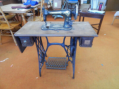 Antique Cast Iron Singer sewing Machine wood table parts vtg Local Portland OR