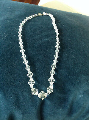 Vintage clear CRYSTAL GLASS BEAD LONG NECKLACE  sterling silver