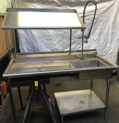 Commercial Kitchen Stainless Steel Sink Counter Table Shelf w/ Faucet Sprayer
