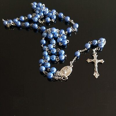 Rosary Bead Crucifix Necklace Christian Jesus Chain Cross blue