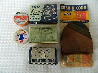 Vintage Advertising Items Drawing Pins Tape Photo Corners Mixed Lot