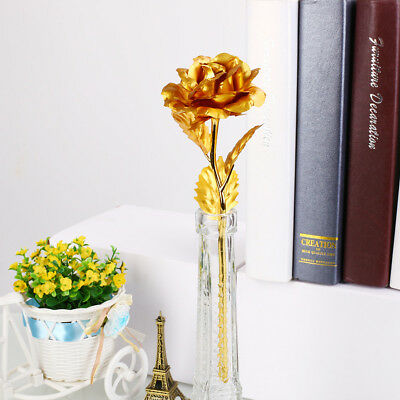 HOT 24K Gold Plated Golden Rose Flower Valentine's Day Lovers' Gift Romantic Day