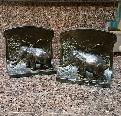 Antique Pair bronzed elephant bookends-L V Aronson-dated 1923